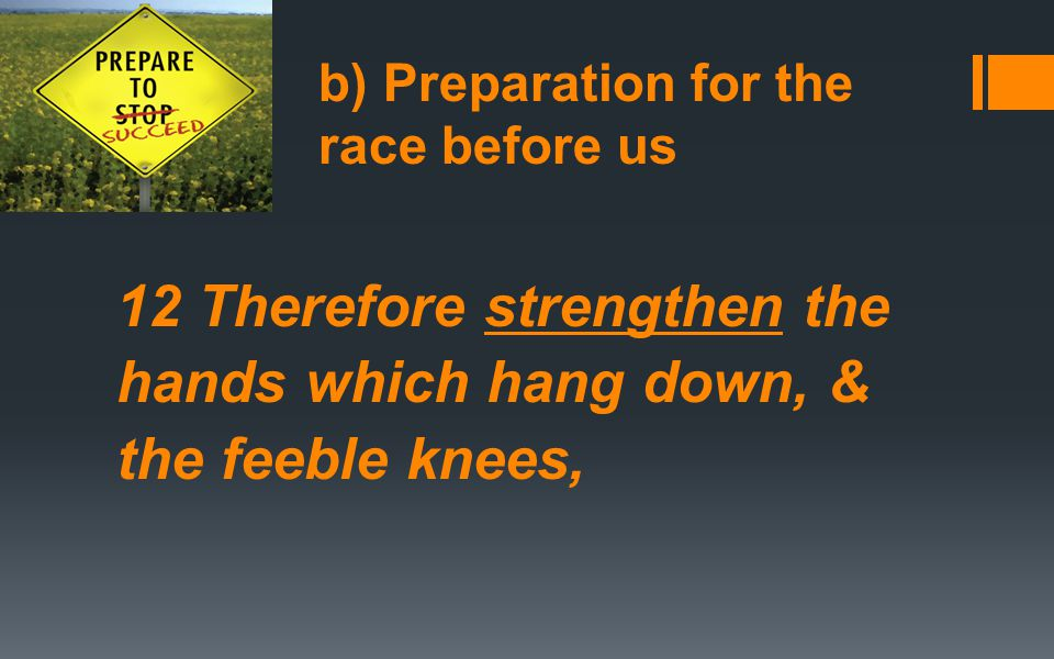 12 Therefore strengthen the hands which hang down, & the feeble knees,