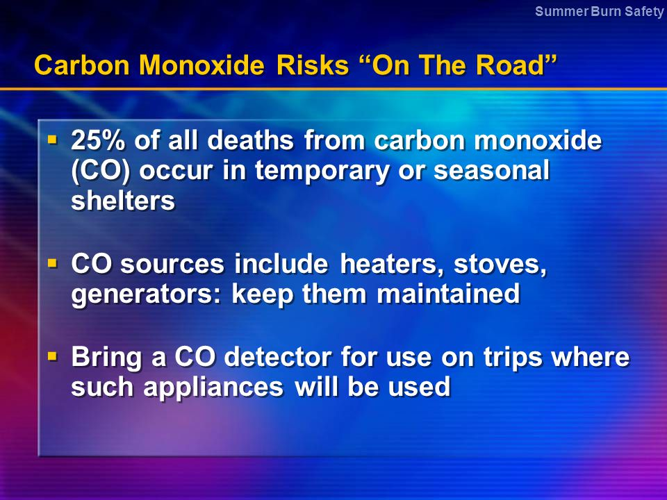 Carbon Monoxide Risks On The Road