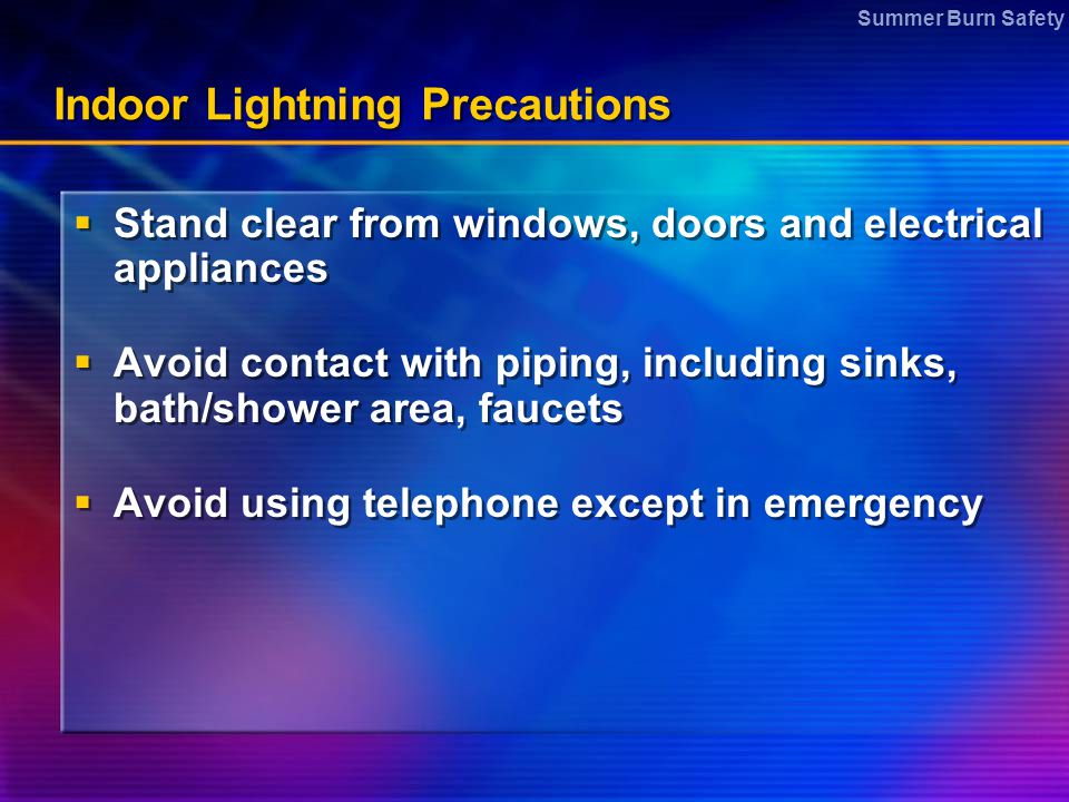 Indoor Lightning Precautions