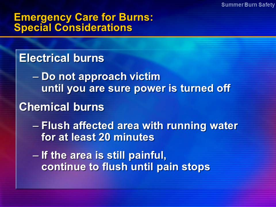 Emergency Care for Burns: Special Considerations