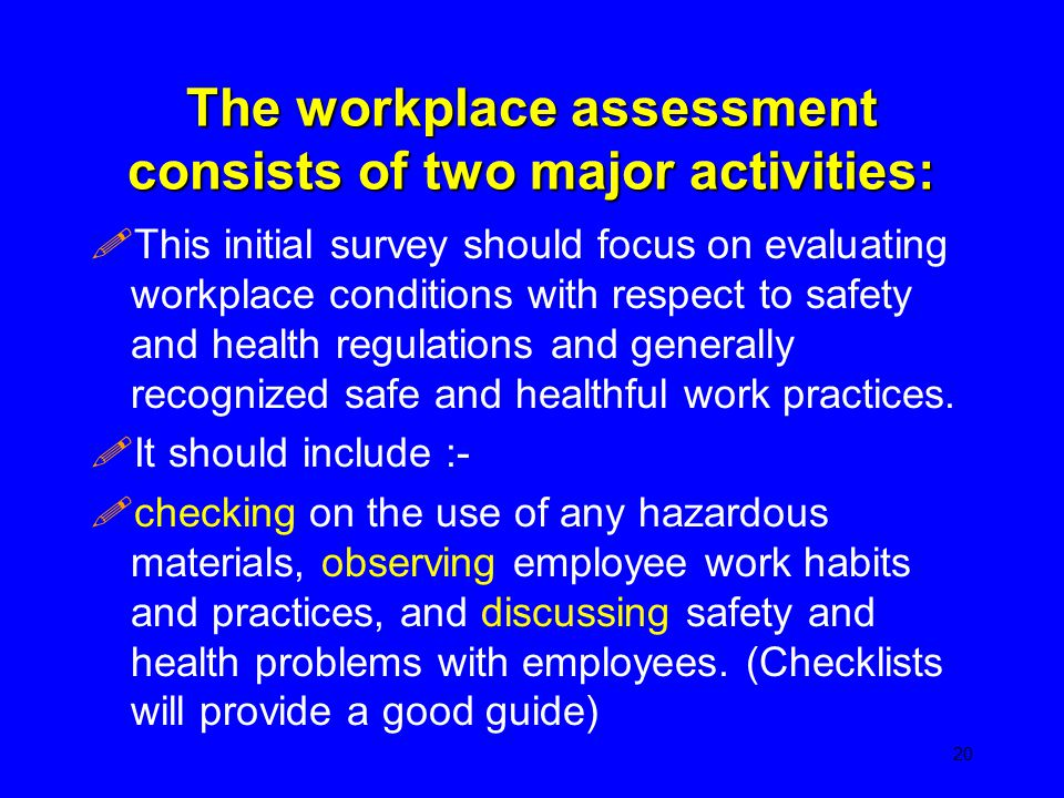 The workplace assessment consists of two major activities: