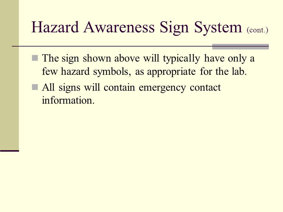 Hazard Awareness Sign System (cont.)