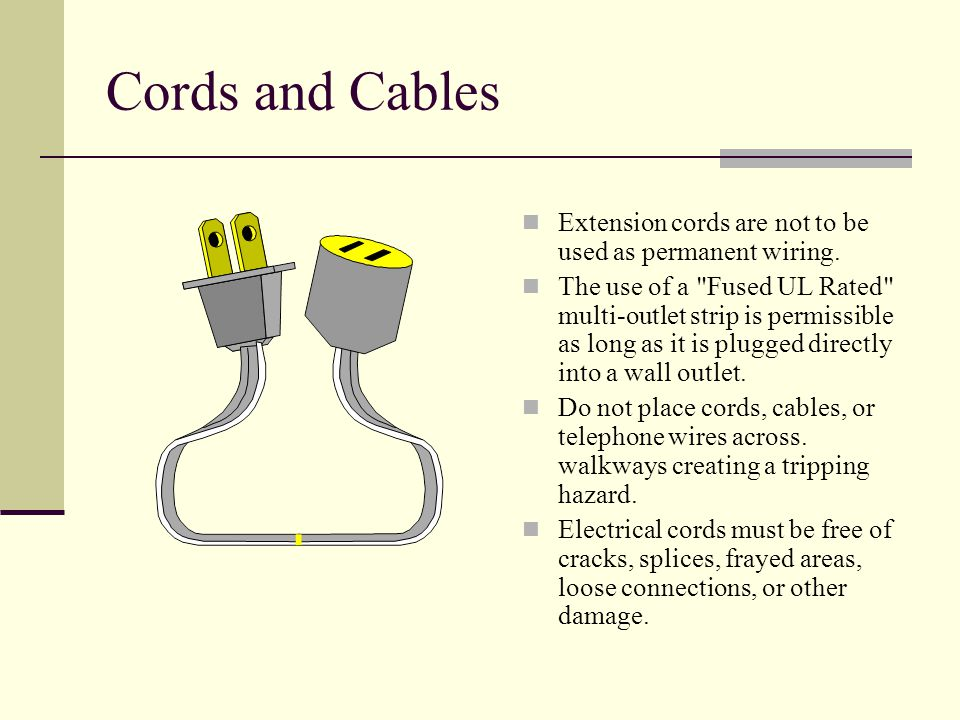 Cords and Cables Extension cords are not to be used as permanent wiring.