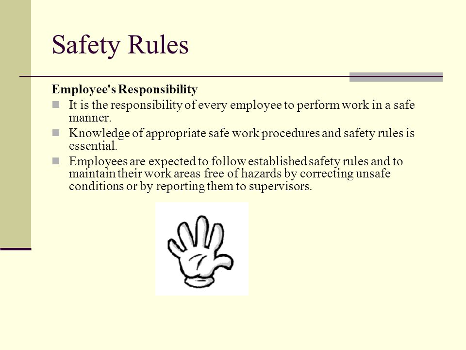 Safety Rules Employee s Responsibility