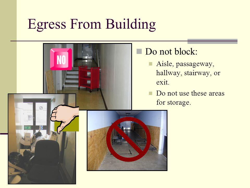 Egress From Building Do not block: