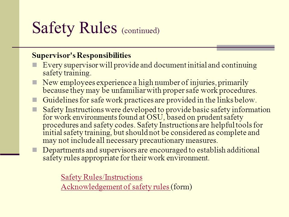 Safety Rules (continued)