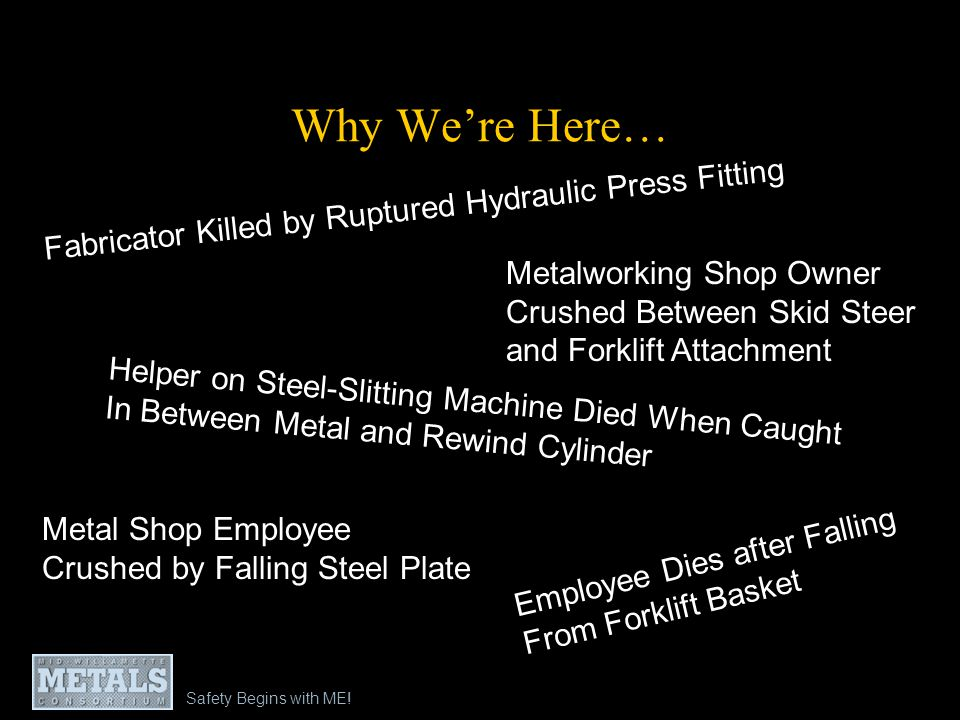 Why We're Here… Fabricator Killed by Ruptured Hydraulic Press Fitting
