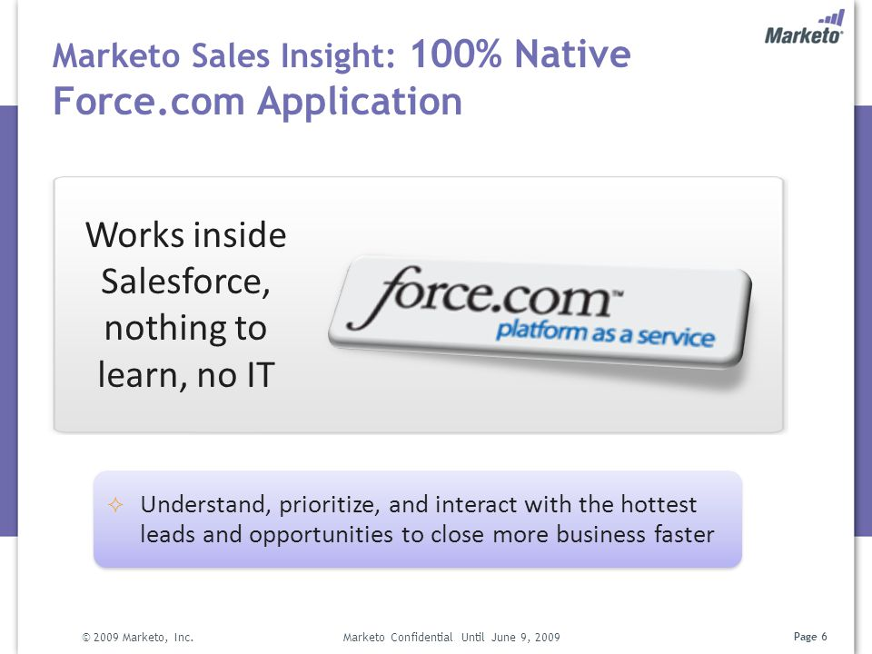 Marketo Sales Insight: 100% Native Force.com Application