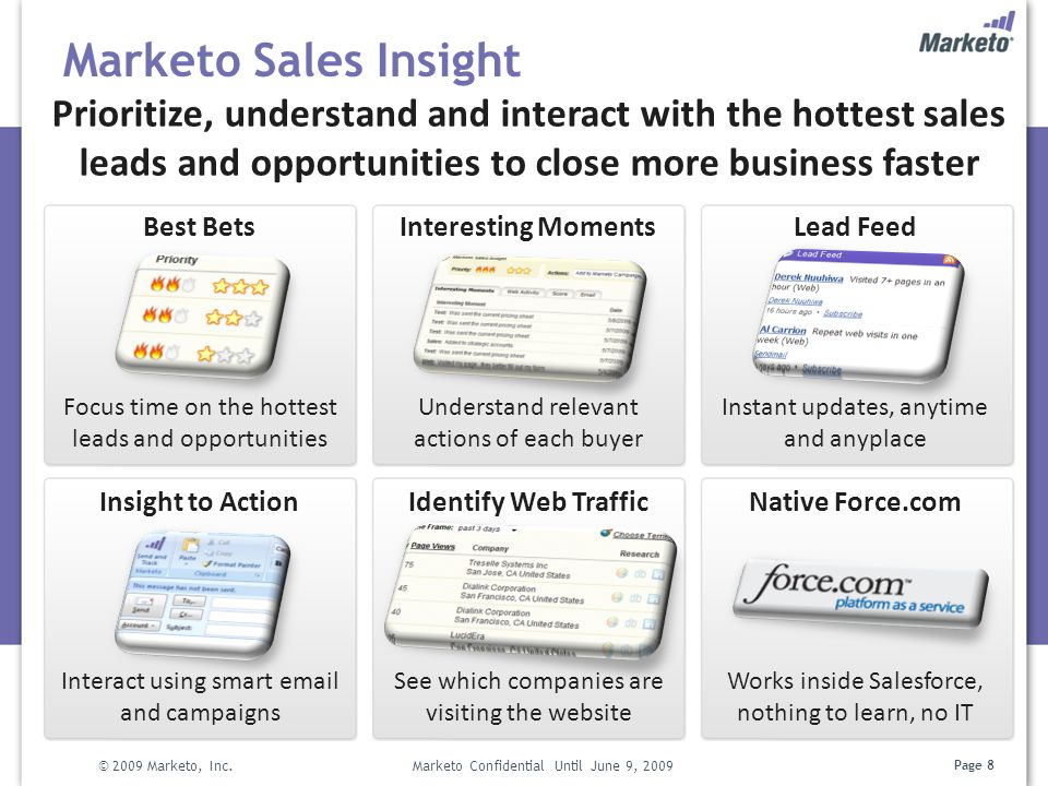 Marketo Sales Insight Prioritize, understand and interact with the hottest sales leads and opportunities to close more business faster.