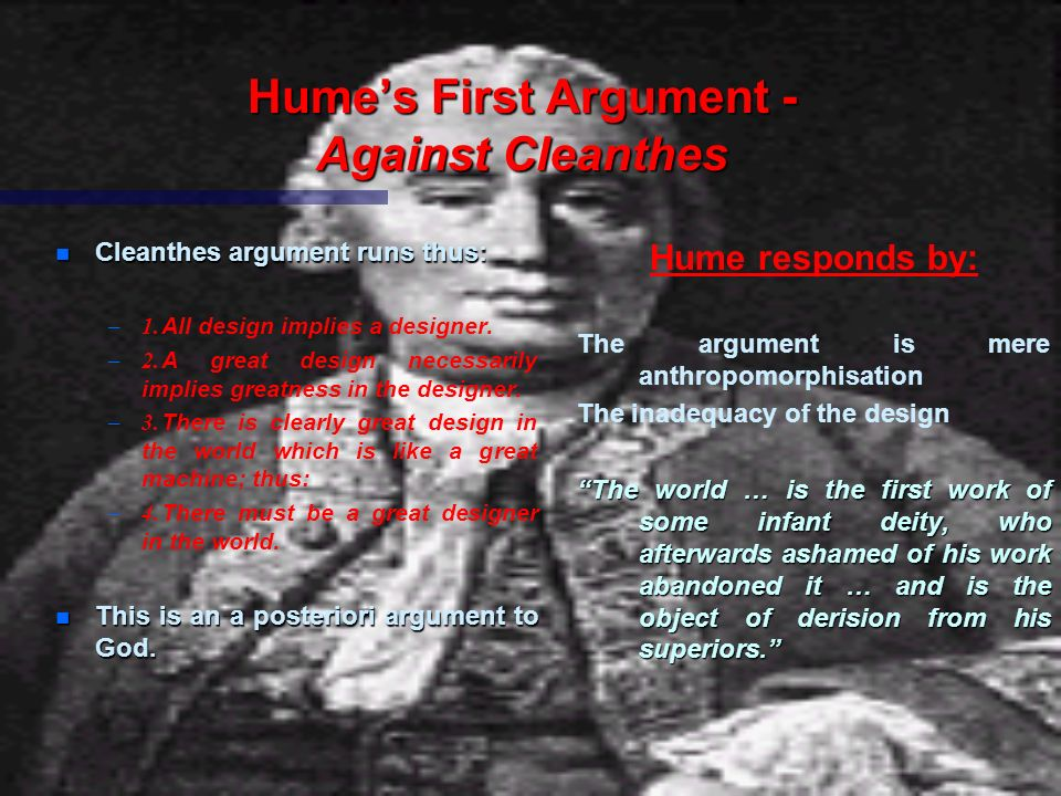 Hume's First Argument - Against Cleanthes