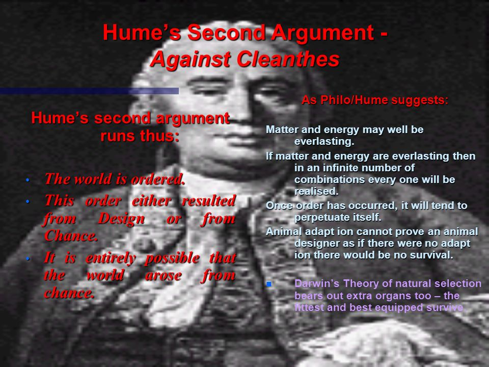 Hume's Second Argument - Against Cleanthes