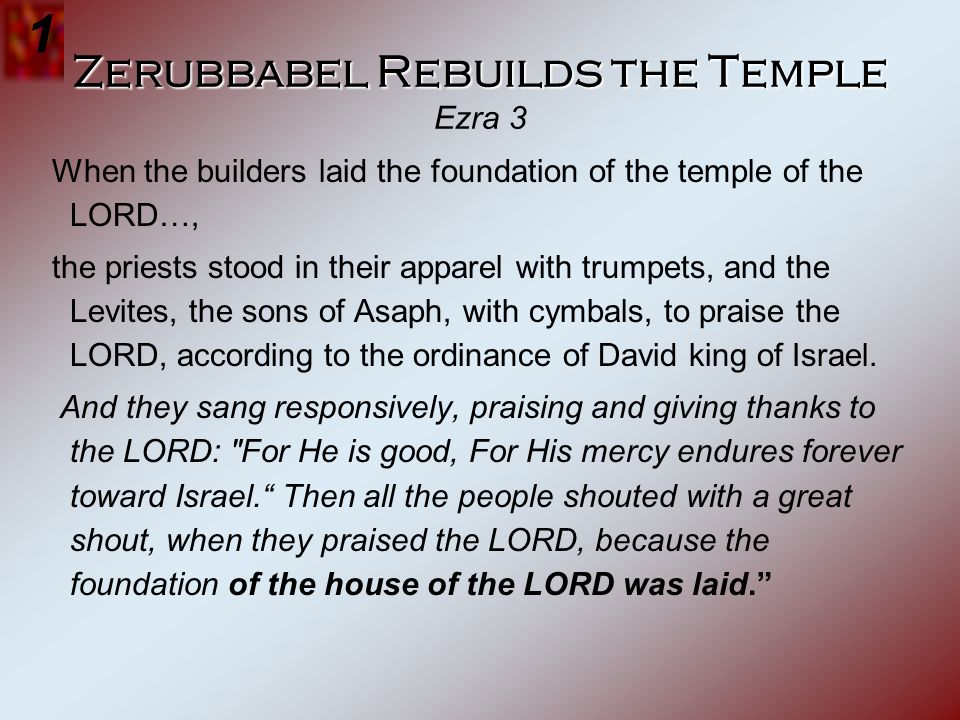Zerubbabel Rebuilds the Temple Ezra 3