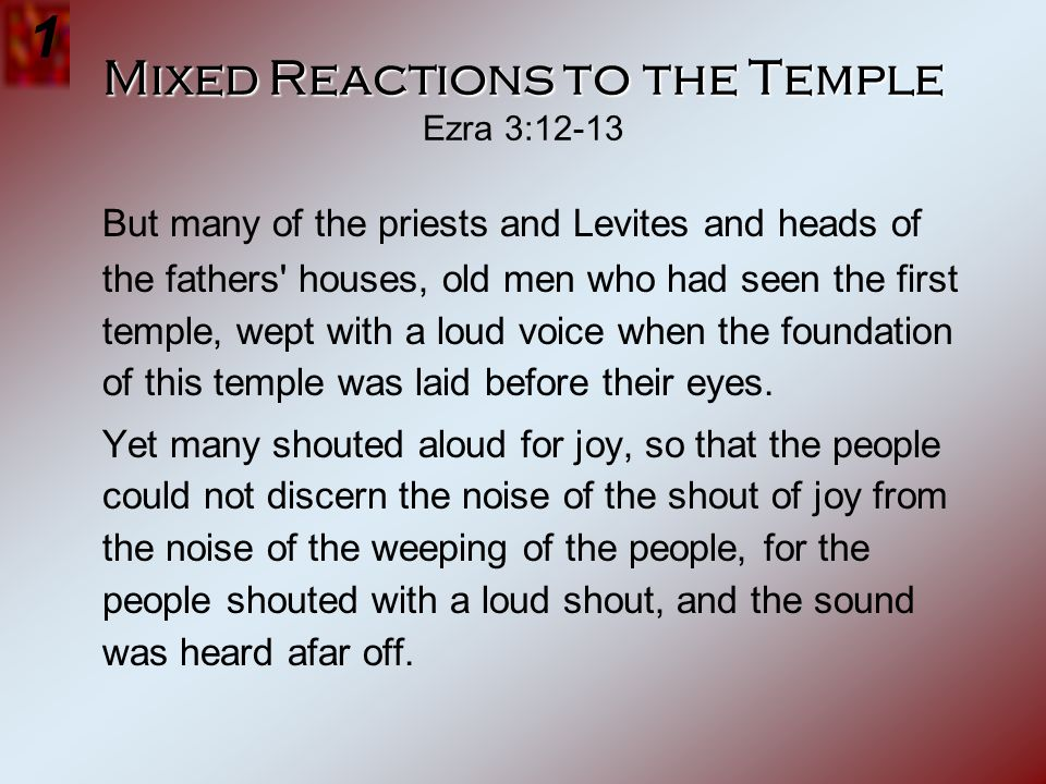 Mixed Reactions to the Temple Ezra 3:12-13