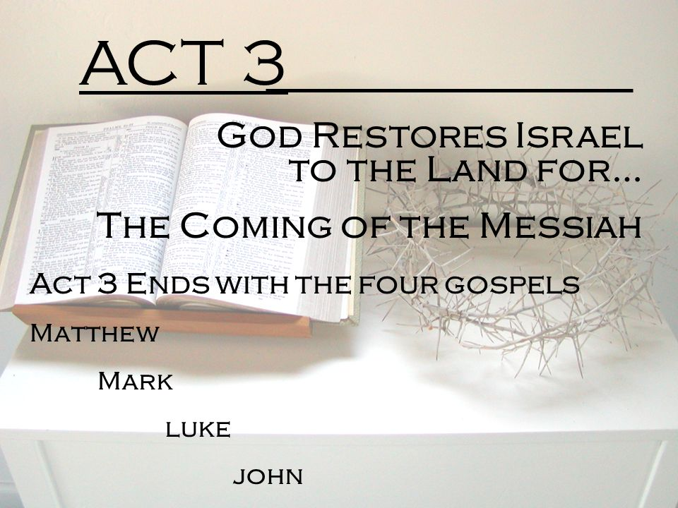 ACT 3 God Restores Israel to the Land for… The Coming of the Messiah