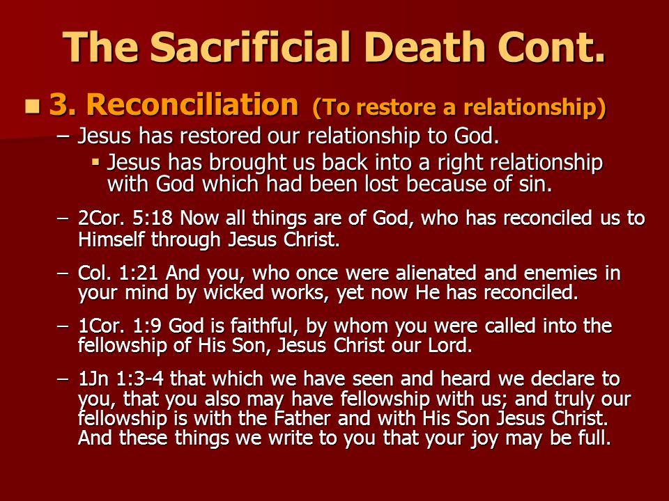 The Sacrificial Death Cont.