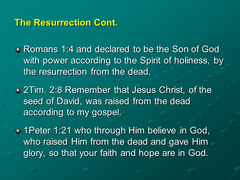 The Resurrection Cont.