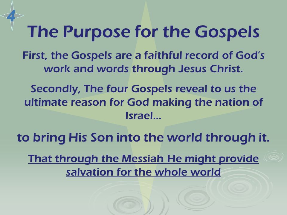 The Purpose for the Gospels