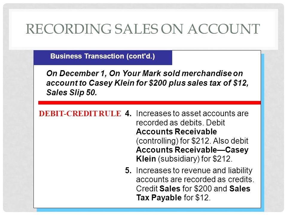 Recording sales on account