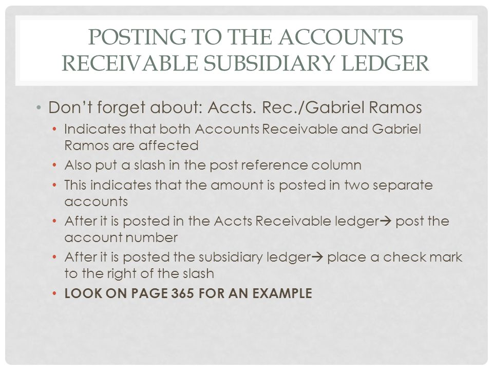 Posting to the accounts receivable subsidiary ledger