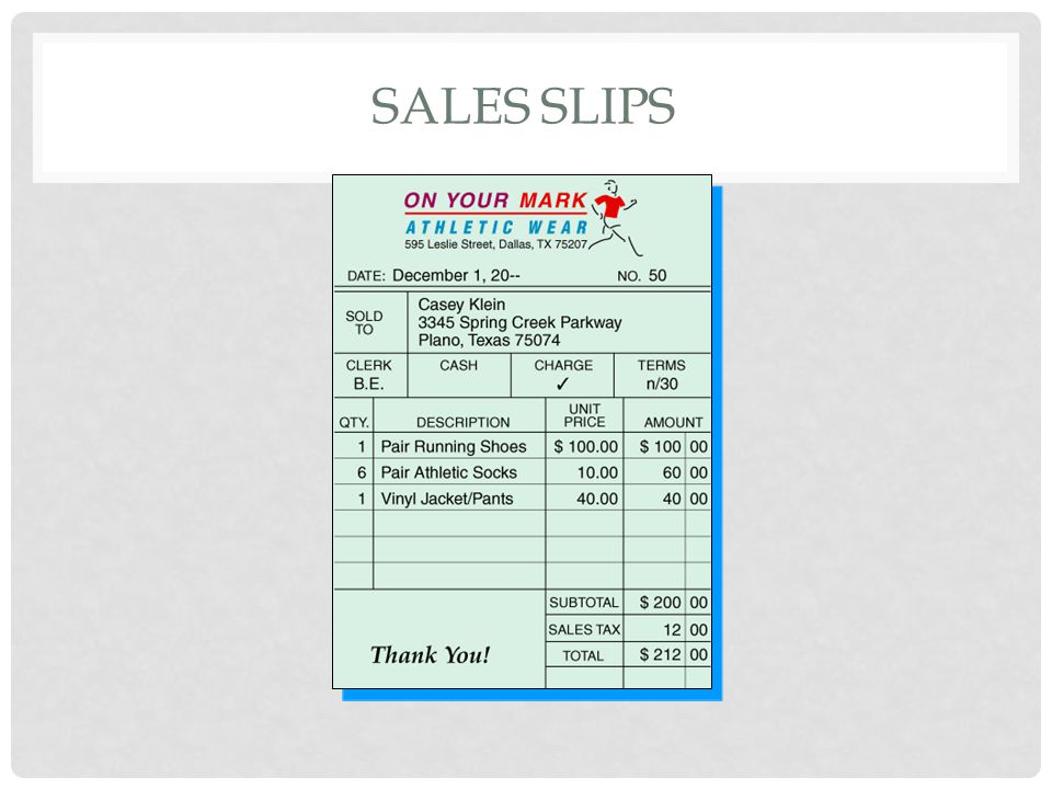 Sales slips