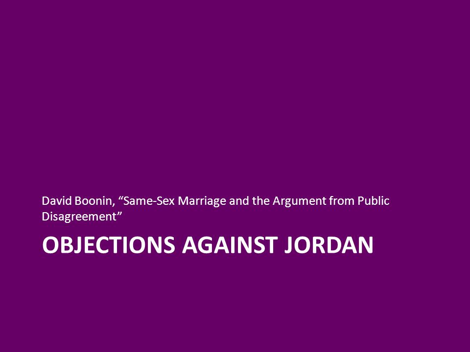Objections Against Jordan