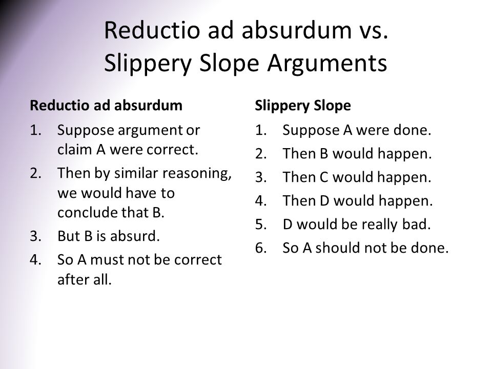Reductio ad absurdum vs. Slippery Slope Arguments