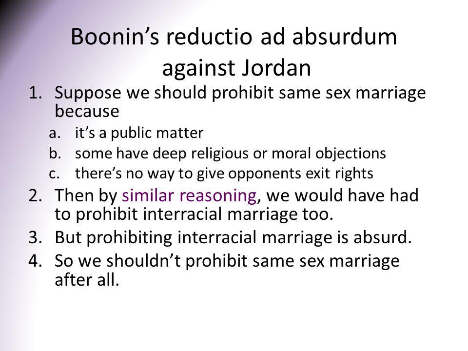 Boonin's reductio ad absurdum against Jordan