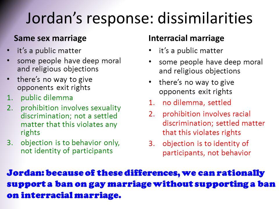 Jordan's response: dissimilarities