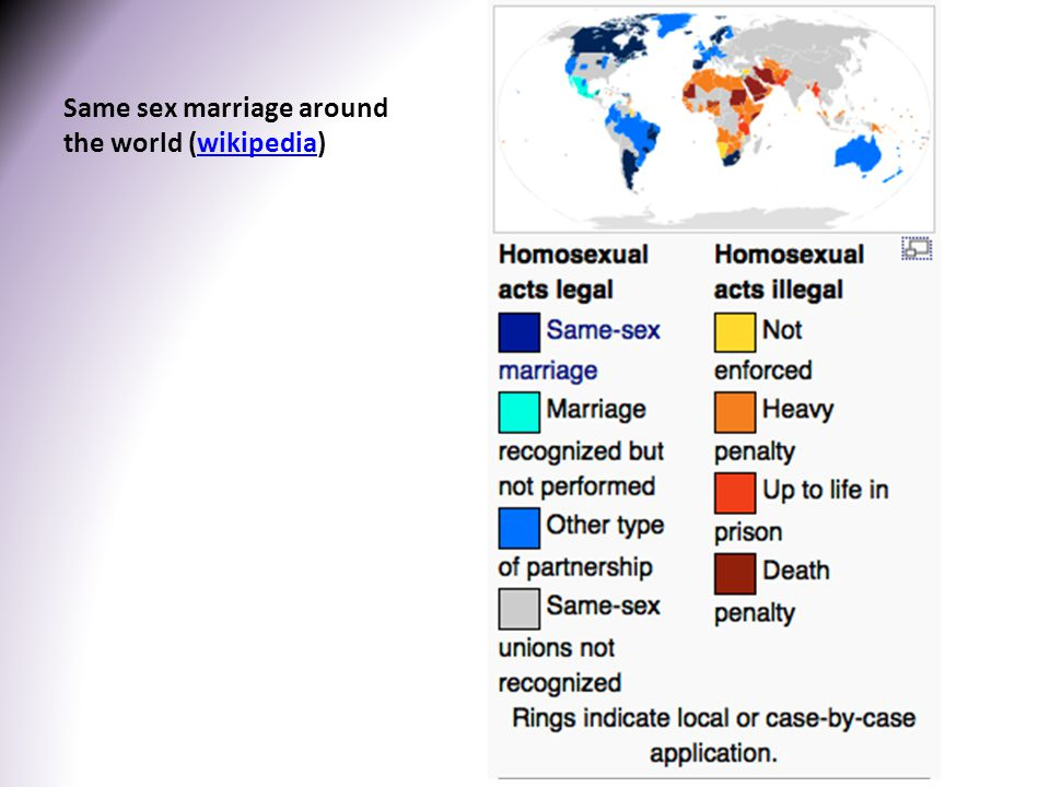 Same sex marriage around the world (wikipedia)