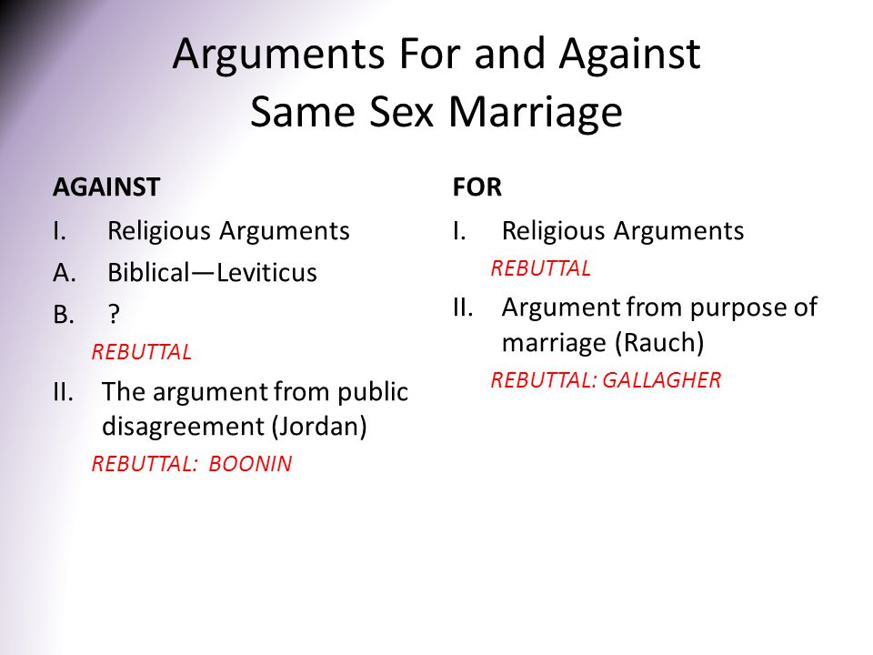 Arguments For and Against Same Sex Marriage