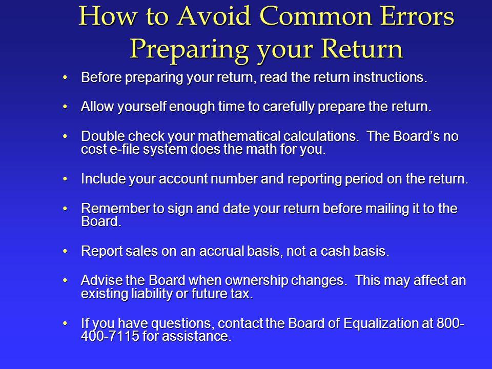 How to Avoid Common Errors Preparing your Return