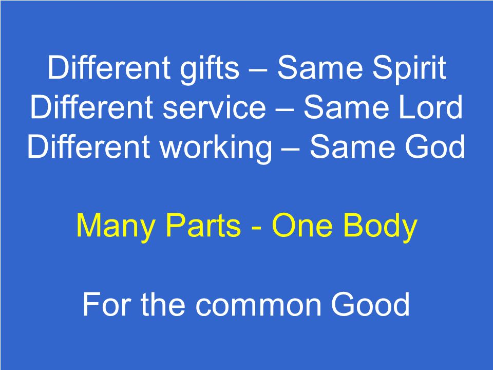 Different gifts – Same Spirit Different service – Same Lord Different working – Same God
