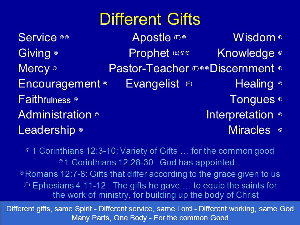 Different Gifts Service ® © Apostle (E) © Wisdom ©