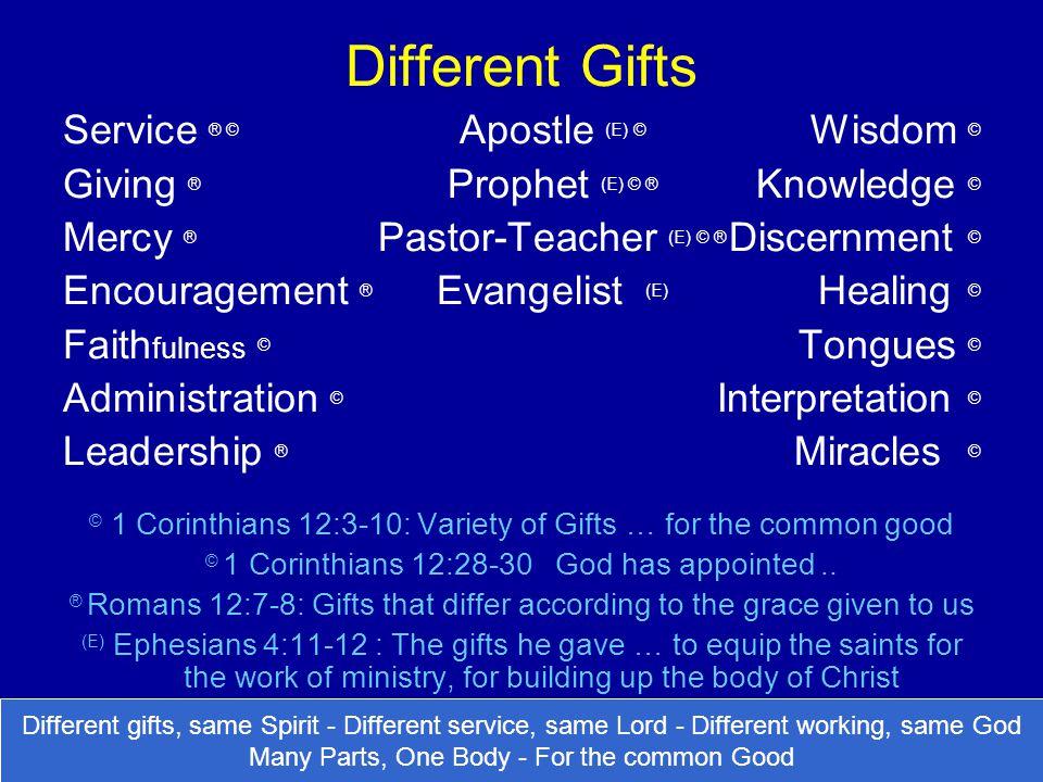 Different Gifts Service ® © Apostle (E) © Wisdom ©