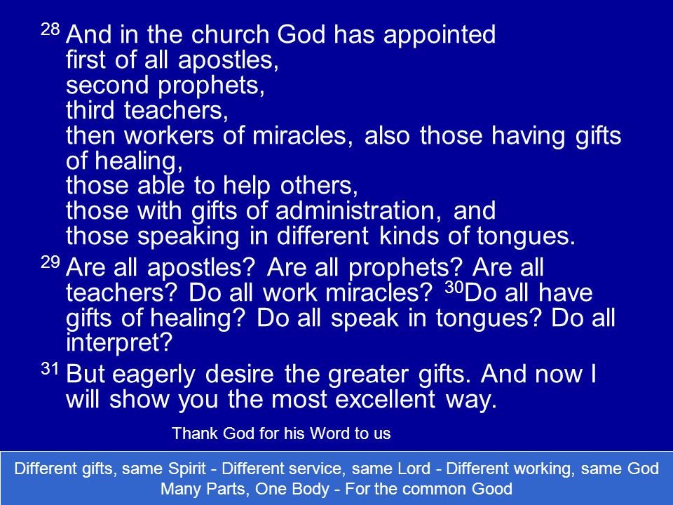 28 And in the church God has appointed first of all apostles, second prophets, third teachers, then workers of miracles, also those having gifts of healing, those able to help others, those with gifts of administration, and those speaking in different kinds of tongues.