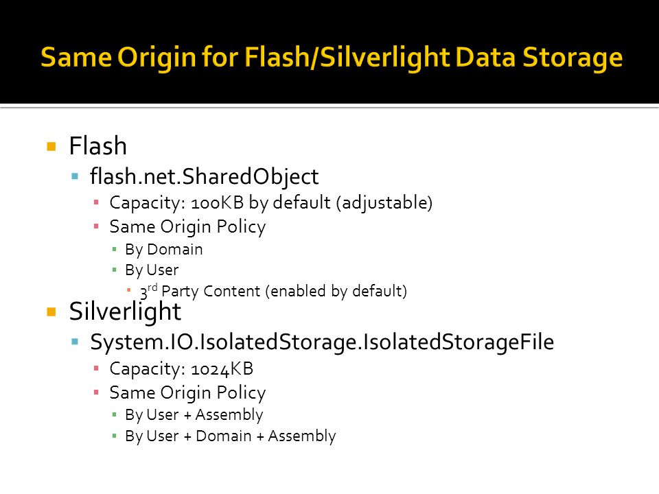 Same Origin for Flash/Silverlight Data Storage