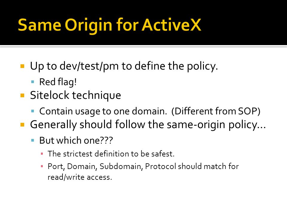 Same Origin for ActiveX