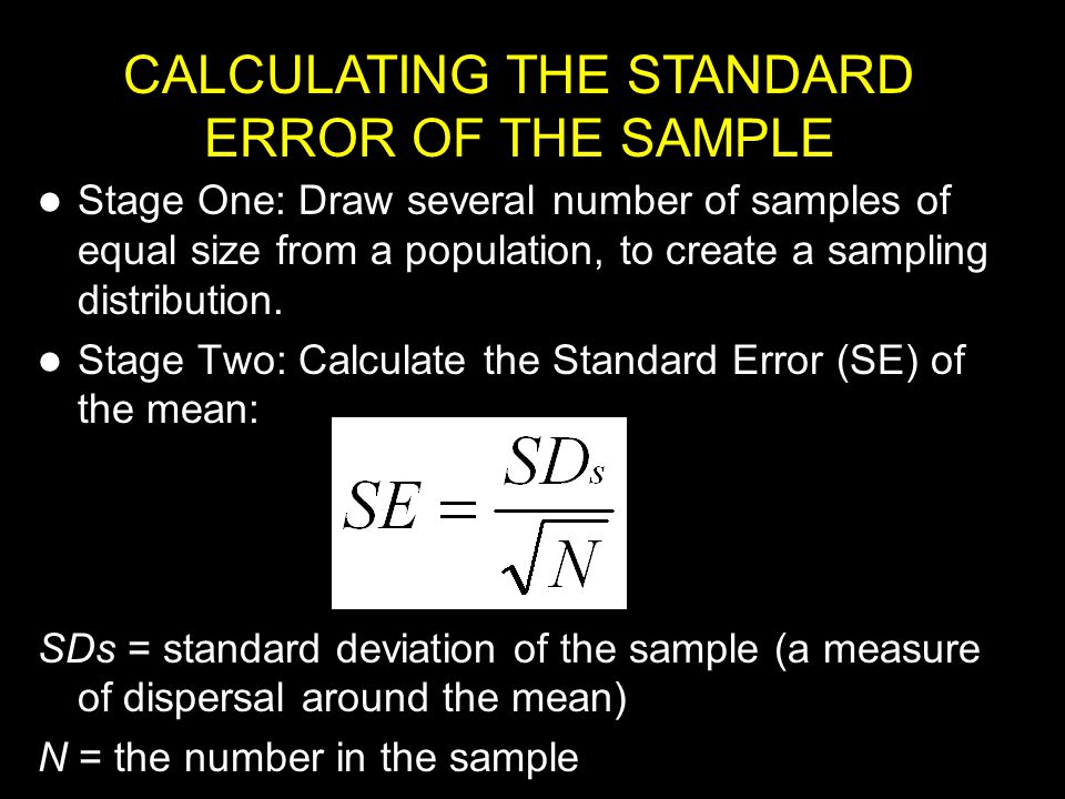 CALCULATING THE STANDARD ERROR OF THE SAMPLE