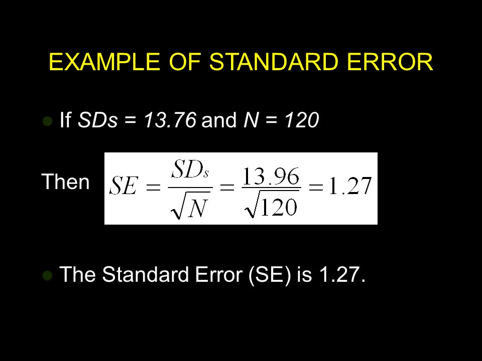 EXAMPLE OF STANDARD ERROR