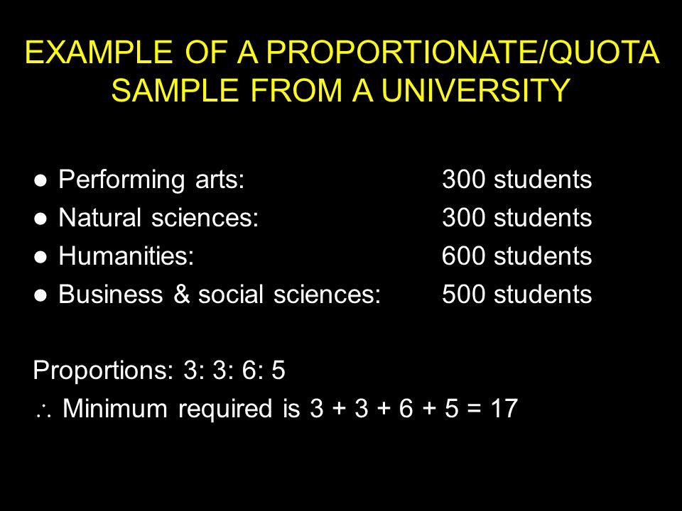 EXAMPLE OF A PROPORTIONATE/QUOTA SAMPLE FROM A UNIVERSITY