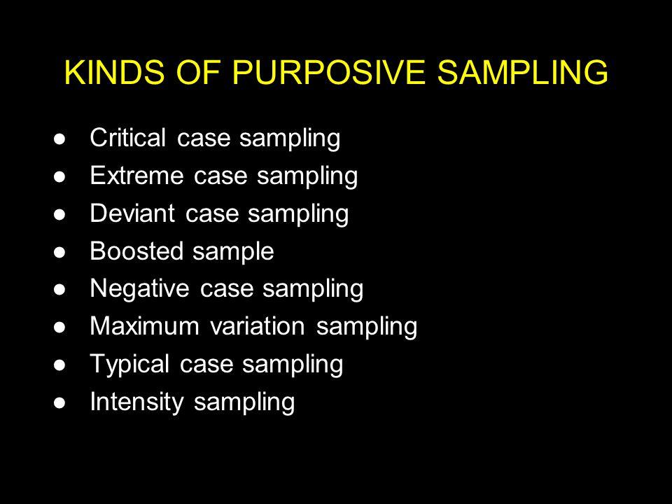 KINDS OF PURPOSIVE SAMPLING
