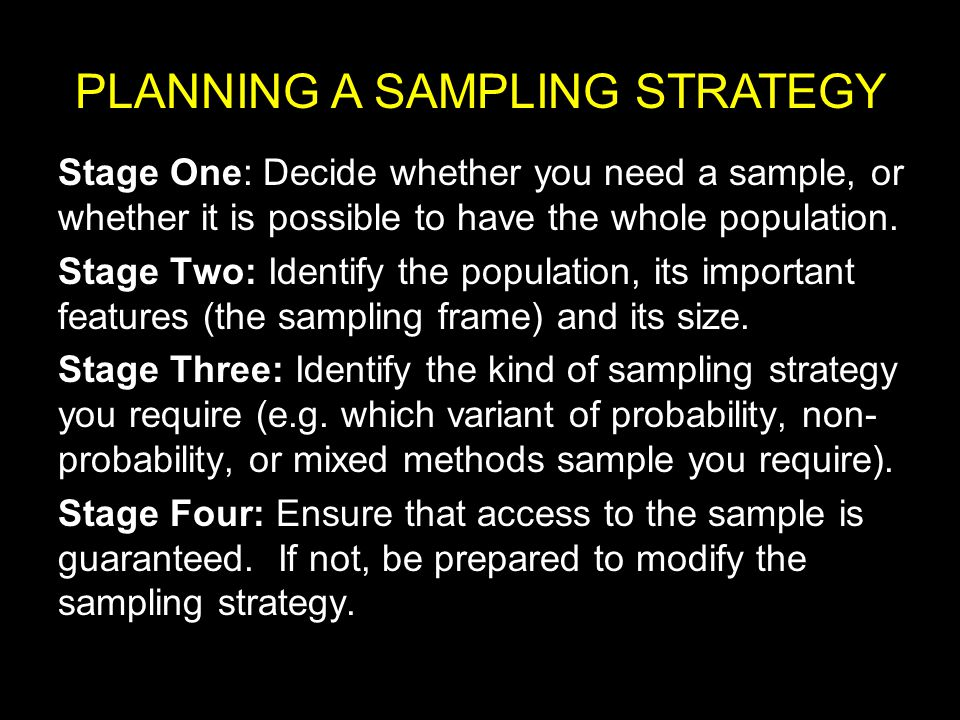 PLANNING A SAMPLING STRATEGY