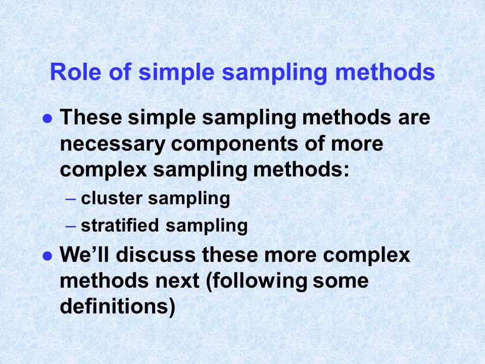 Role of simple sampling methods
