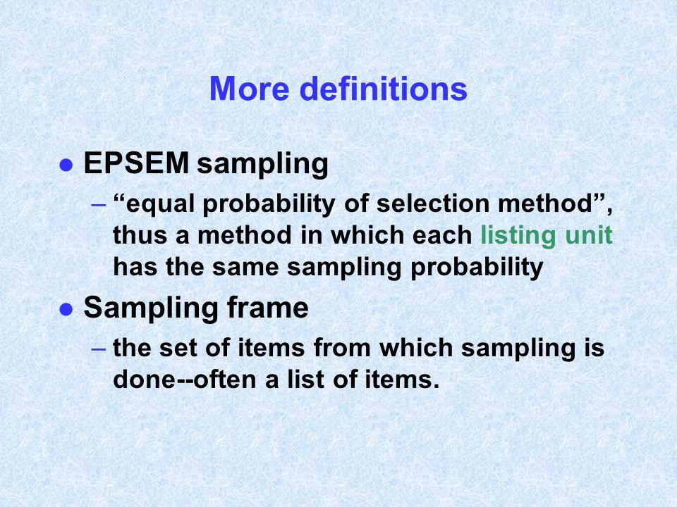 More definitions EPSEM sampling Sampling frame