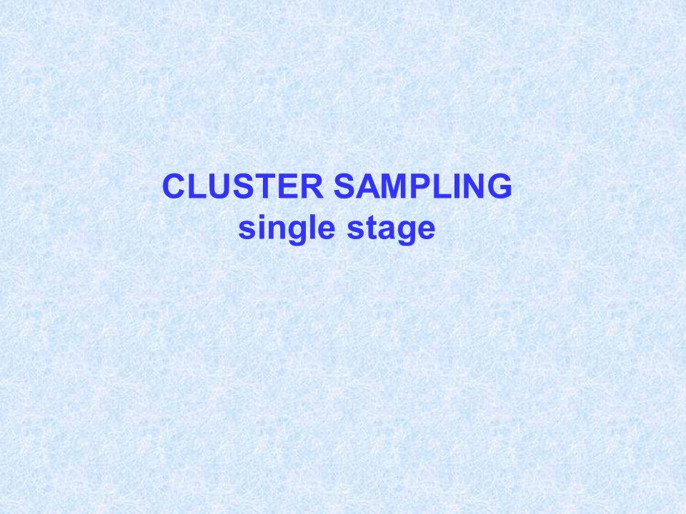 CLUSTER SAMPLING single stage
