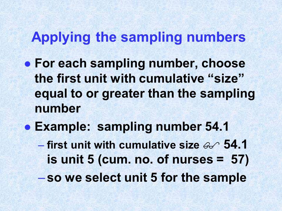 Applying the sampling numbers