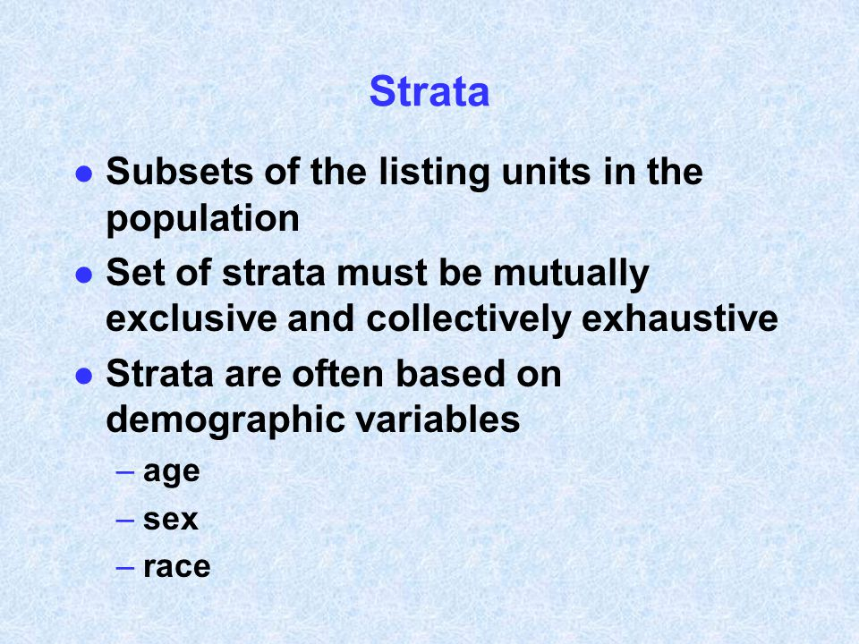 Strata Subsets of the listing units in the population