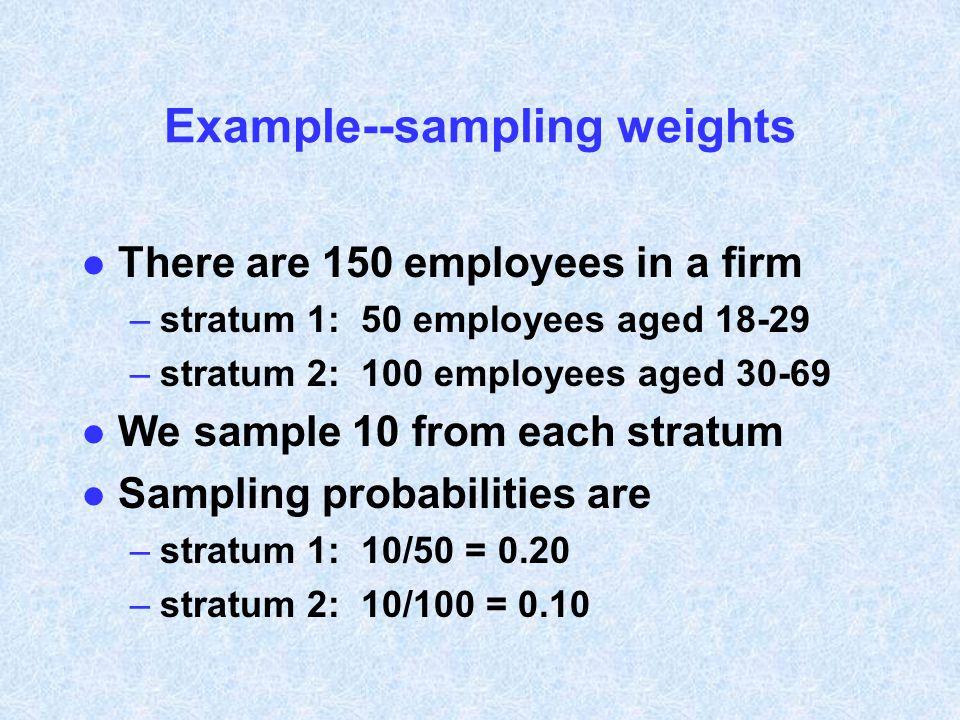 Example--sampling weights