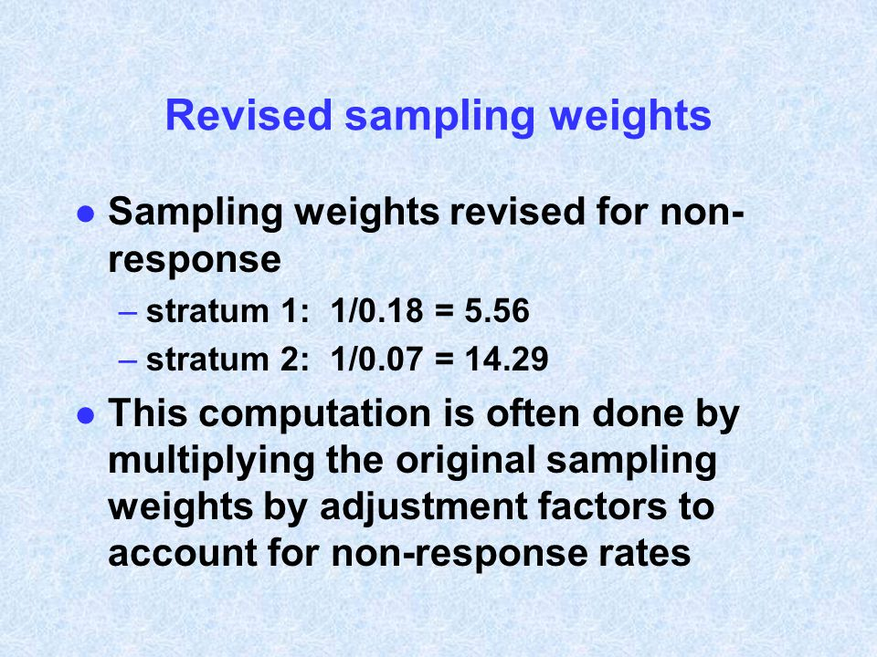 Revised sampling weights