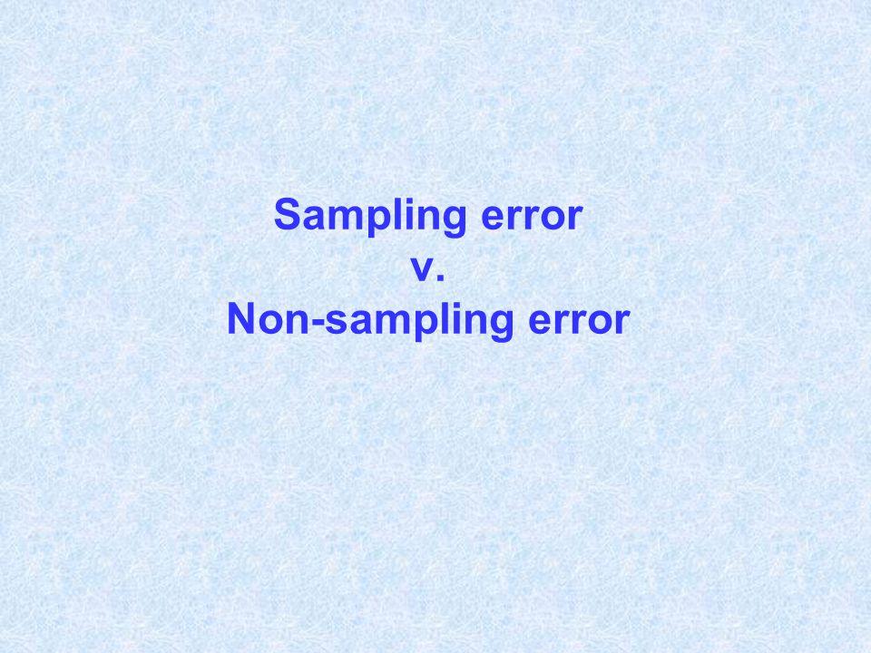 Sampling error v. Non-sampling error